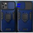 """Tok, Ring LENS ütésálló hátlap, szilikon kerettel, eltolható kameravédővel, gyűrűs ujjtartóval, Apple Iphone 11 (6,1""""), kék"""