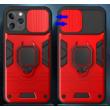 Tok, Ring LENS ütésálló hátlap, szilikon kerettel, eltolható kameravédővel, gyűrűs ujjtartóval, Apple Iphone 7 / 8 / SE (2020), piros
