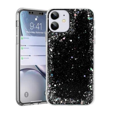 """Tok, Brilliant, Apple Iphone 12 / 12 Pro (6,1""""), csillogó hátlapvédő, szilikon kerettel, fekete"""