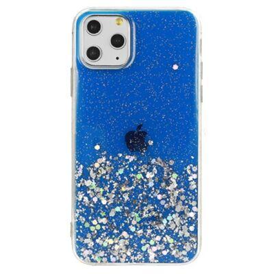 """Tok, Brilliant, Apple Iphone 11 (6,1""""), csillogó hátlapvédő, szilikon kerettel, kék"""