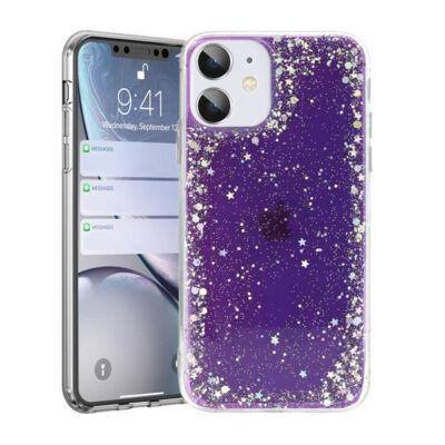 """Tok, Brilliant, Apple Iphone 12 / 12 Pro (6,1""""), csillogó hátlapvédő, szilikon kerettel, lila"""