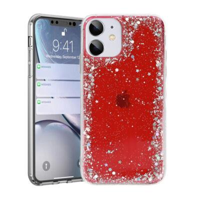 """Tok, Brilliant, Apple Iphone 12 / 12 Pro (6,1""""), csillogó hátlapvédő, szilikon kerettel, piros"""
