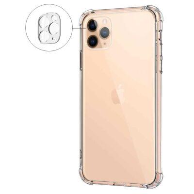 Szilikon tok, Apple Iphone 7 / 8 / SE (2020), átlátszó, erősített sarokkal, kameravédővel, prémium minőség