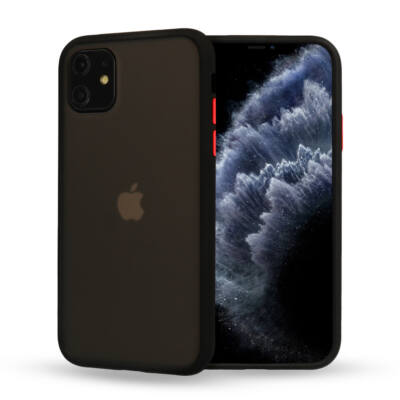 """Tok, Vennus Button Matt Bumper, Apple Iphone 11 (6,1""""), keményített füstszínű hátlap, fekete szilikon kerettel"""