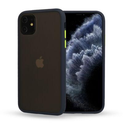 """Tok, Vennus Button Matt Bumper, Apple Iphone 11 (6,1""""), keményített füstszínű hátlap, kék szilikon kerettel"""