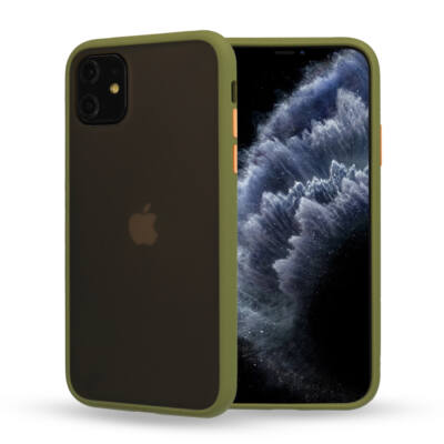 Tok, Vennus Button Matt Bumper, Apple Iphone 7 / 8 / SE (2020), keményített füstszínű hátlap, oliva zöld szilikon kerettel