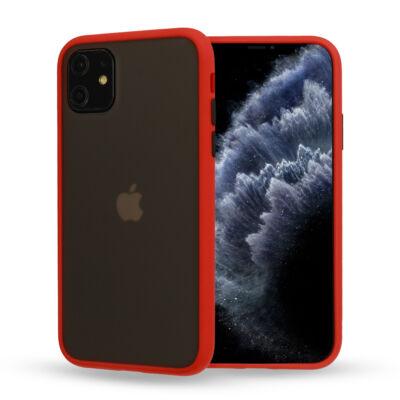"""Tok, Vennus Button Matt Bumper, Apple Iphone 11 (6,1""""), keményített füstszínű hátlap, piros szilikon kerettel"""