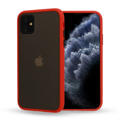 """Tok, Vennus Button Matt Bumper, Apple Iphone 11 Pro (5,8""""), keményített füstszínű hátlap, piros szilikon kerettel"""