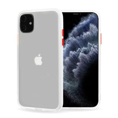 Tok, Vennus Button Matt Bumper, Apple Iphone 7 / 8 / SE (2020), keményített átlátszó hátlap, átlátszó szilikon kerettel