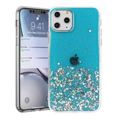 """Tok, Brilliant, Apple Iphone 13 Pro Max (6,7""""), csillogó hátlapvédő, szilikon kerettel, világos kék"""