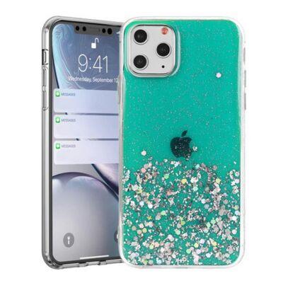 """Tok, Brilliant, Apple Iphone 13 Pro (6,1""""), csillogó hátlapvédő, szilikon kerettel, zöld"""
