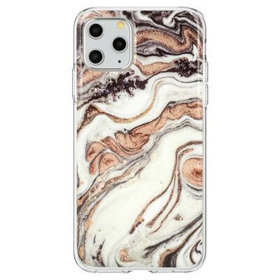 """Tok, Marble Glitter, mintás hátlap, szilikon kerettel, Apple Iphone 11 (6,1""""), minta 1"""