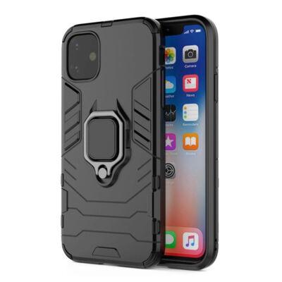 Tok, Ring Armor ütésálló hátlap, szilikon kerettel, gyűrűs ujjtartóval, Apple Iphone 7 / 8 / SE (2020), fekete