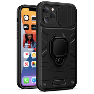 Tok, Ring LENS ütésálló hátlap, szilikon kerettel, eltolható kameravédővel, gyűrűs ujjtartóval, Apple Iphone 7 / 8 / SE (2020), fekete