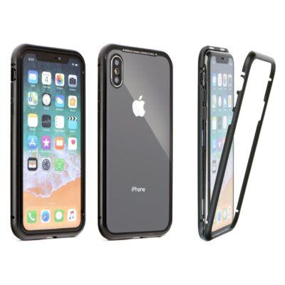 Tok, Magneto, mágneses alumínium bumper, üveg hátlappal, Apple Iphone 7 / 8 / SE (2020), fekete