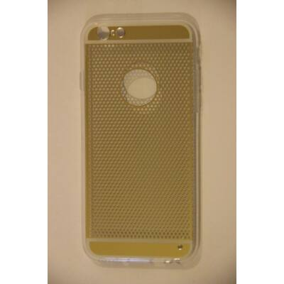 Tok, átlátszó szilikon tok, Apple iPhone 6 / 6S, arany pöttyös minta, csomagolás nélkül