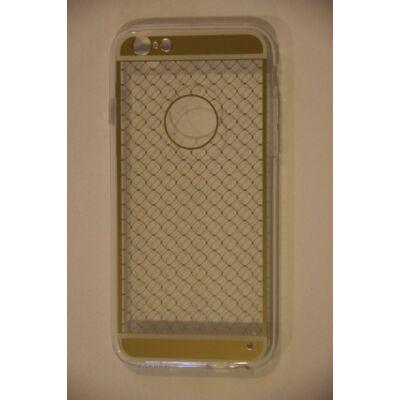 Tok, átlátszó szilikon tok, Apple iPhone 6 / 6S, arany rácsos minta, csomagolás nélkül