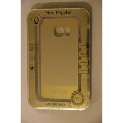 Tok, átlátszó szilikon tok, Samsung Galaxy S6 Edge G925, arany csíkos minta, bliszteres