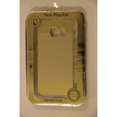Tok, átlátszó szilikon tok, Samsung Galaxy S6 Edge G925, arany rácsos minta, bliszteres