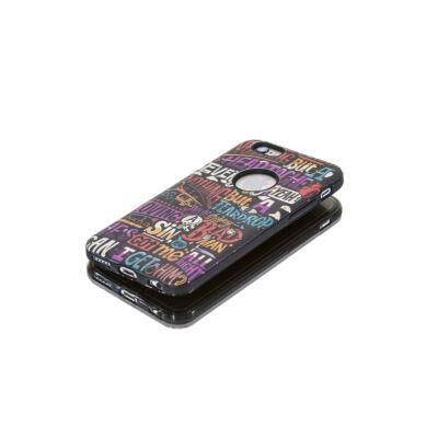 Tok, Foszforeszkálós, betű mintás, kemény hátlap, szilikon kerettel, Samsung Galaxy S7 Edge, fekete