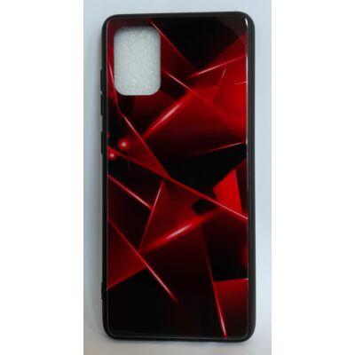 """Tok, Glass, mintás üveg hátlap, szilikon kerettel, Apple Iphone 11 (6,1""""), minta 3 (piros-fekete geometrikus)"""