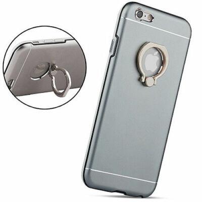 Tok, aluminium hátlap, szilikon kerettel, gyűrűs ujjtartóval és kitámasztóval, Apple iPhone 6 Plus, szürke, prémium minőség