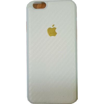 Tok, szilikon tok, carbon mintás, Apple logóval, Apple iPhone 7 / 8 / SE (2020), fehér