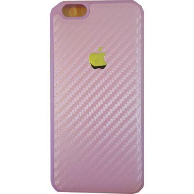 Tok, szilikon tok, carbon mintás, Apple logóval, Apple iPhone 7 / 8 / SE (2020), rózsaszín