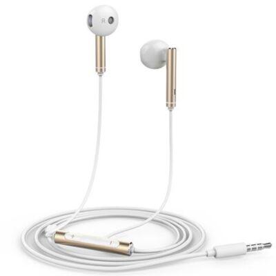 Headset, Huawei, AM116, sztereó, hangerőszabályzós, 3.5mm jack csatlakozóval, fehér-arany, gyári, csomagolás nélküli