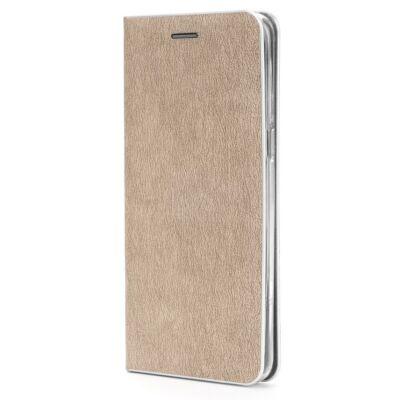 """Tok, Luna, oldalra nyíló mágneses műbőr flip tok, Apple Iphone 12 / 12 Pro (6,1""""), arany, (szilikon belsővel), ezüst keretes, csomagolás nélküli (prémium minőség)"""