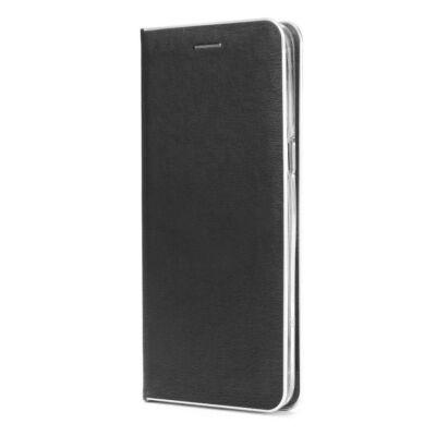 Tok, Luna, oldalra nyíló mágneses műbőr flip tok, Apple Iphone 7 / 8 / SE (2020), fekete, (szilikon belsővel), ezüst keretes, csomagolás nélküli (prémium minőség)