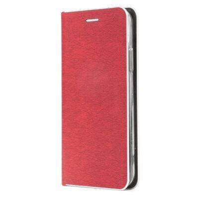 Tok, Luna, oldalra nyíló mágneses műbőr flip tok, Apple Iphone 7 / 8 / SE (2020), piros, (szilikon belsővel), ezüst keretes, csomagolás nélküli (prémium minőség)