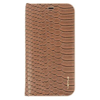 Tok, Vennus Wild, mágneses oldalra nyíló kígyóbőr mintás flip tok, szilikon belsővel, Apple Iphone 7 / 8 / SE (2020), barna