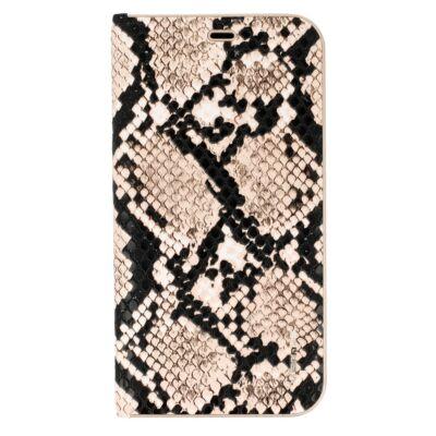 Tok, Vennus Wild, mágneses oldalra nyíló kígyóbőr mintás flip tok, szilikon belsővel, Apple Iphone 7 / 8 / SE (2020), fekete-barna