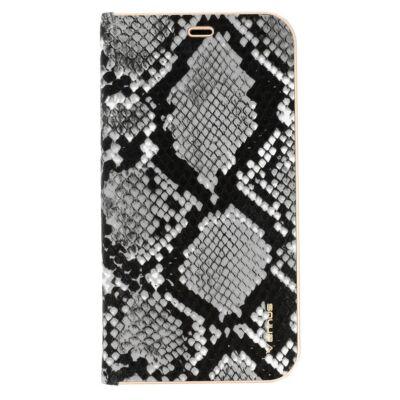 Tok, Vennus Wild, mágneses oldalra nyíló kígyóbőr mintás flip tok, szilikon belsővel, Apple Iphone 7 / 8 / SE (2020), fekete-szürke