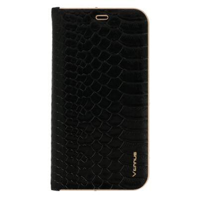 Tok, Vennus Wild, mágneses oldalra nyíló kígyóbőr mintás flip tok, szilikon belsővel, Apple Iphone 7 / 8 / SE (2020), fekete