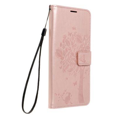 """Tok, Mezzo, mintás oldalra nyíló flip tok, szilikon belsővel, Apple Iphone 12 / 12 Pro (6,1""""), minta 1 (Fa), rose gold"""
