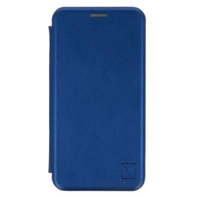 Tok, Elegance, mágneses, oldalra nyíló műbőr flip tok, Apple Iphone 7 / 8 / SE (2020), kék, (szilikon belsővel), csomagolás nélküli