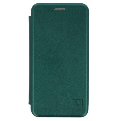 Tok, Elegance, mágneses, oldalra nyíló műbőr flip tok, Apple Iphone 7 / 8 / SE (2020), zöld, (szilikon belsővel), csomagolás nélküli