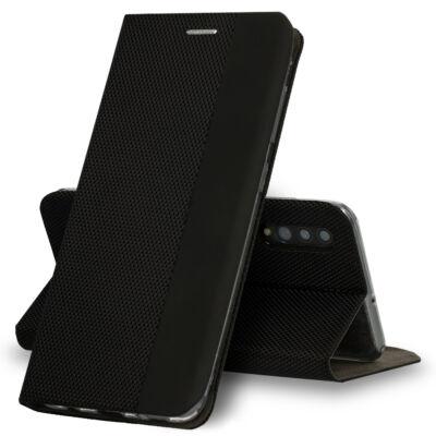 Tok, Sensitive, mágneses oldalra nyíló flip tok, Apple Iphone 7 / 8 / SE (2020), fekete, (szilikon belsővel), csomagolás nélküli