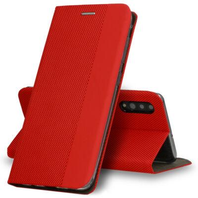 Tok, Sensitive, mágneses oldalra nyíló flip tok, Apple Iphone 7 / 8 / SE (2020), piros, (szilikon belsővel), csomagolás nélküli