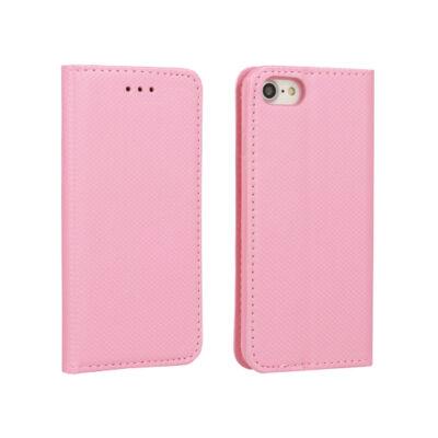 Tok, mágneses oldalra nyíló Smart flip tok, Apple iPhone 7 / 8 / SE (2020), rózsaszín, (szilikon belsővel), csomagolás nélküli