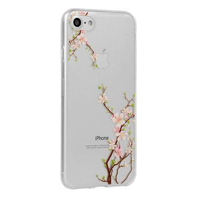 Szilikon tok, Floral, Apple Iphone 7 / 8 / SE (2020), mintás hátlap, cseresznyevirág