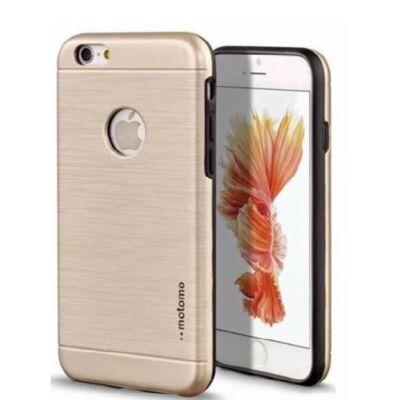 Tok, Motomo, szálcsiszolt aluminium hátlap, szilikon kerettel, Apple Iphone 7 Plus, 8 Plus, arany