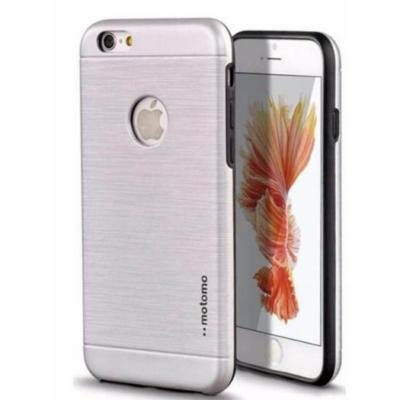 Tok, Motomo, szálcsiszolt aluminium hátlap, szilikon kerettel, Apple iPhone 6 Plus, ezüst