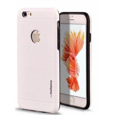 Tok, Motomo, szálcsiszolt aluminium hátlap, szilikon kerettel, Apple Iphone 7 Plus, 8 Plus, fehér