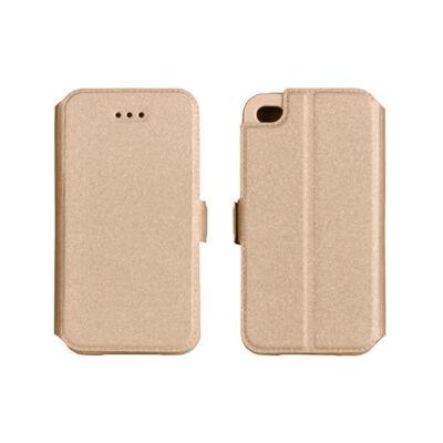 Tok, oldalra nyíló flip tok, Apple iPhone 7 / 8 / SE (2020), arany, flexi, csomagolás nélküli