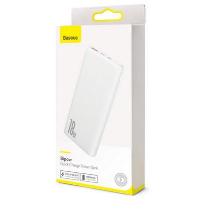 Power Bank, Baseus Bipow (PPDML-02), 10000mAh, 18 W, micro USB és Type-C bemenettel, USB kimenettel, fehér, bliszteres