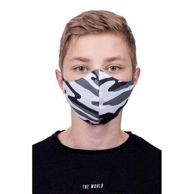 Szájmaszk, Többször használható, oldalzsebes, mintás, mosható, vasalható, fertőtleníthető maszk gyerek 8-12, fehér, (Terepminta)