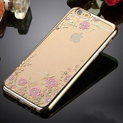 Tok, Ultra-slim szilikon tok, Apple iPhone 7 / 8 / SE (2020), arany keretes, rózsaszín virág mintás, Swarovski kristályos